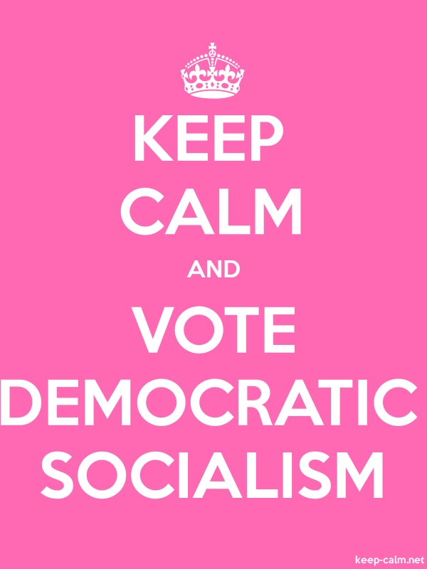 KEEP CALM AND VOTE DEMOCRATIC SOCIALISM - white/pink - Default (600x800)