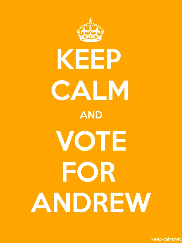 KEEP CALM AND VOTE FOR ANDREW - white/orange - Default (600x800)