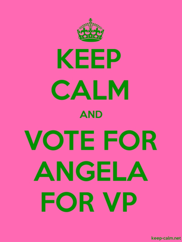 KEEP CALM AND VOTE FOR ANGELA FOR VP - green/pink - Default (600x800)