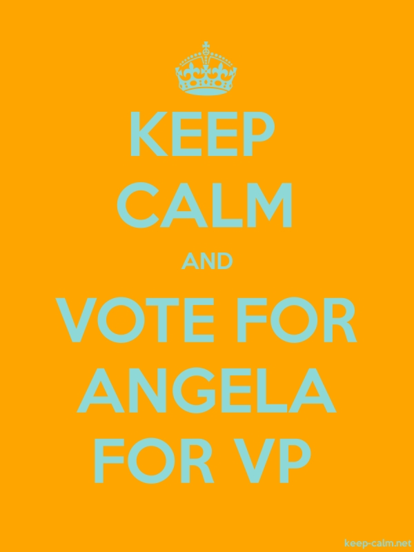 KEEP CALM AND VOTE FOR ANGELA FOR VP - lightblue/orange - Default (600x800)