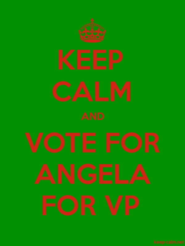 KEEP CALM AND VOTE FOR ANGELA FOR VP - red/green - Default (600x800)