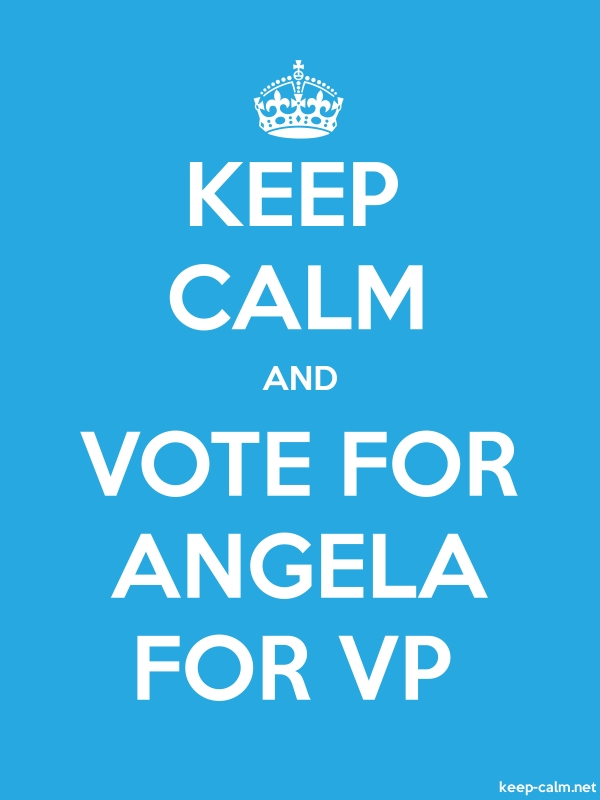 KEEP CALM AND VOTE FOR ANGELA FOR VP - white/blue - Default (600x800)