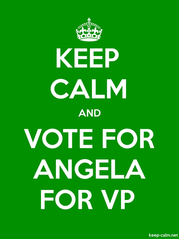 KEEP CALM AND VOTE FOR ANGELA FOR VP - white/green - Default (600x800)