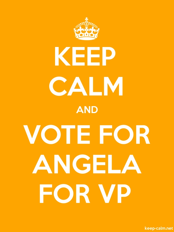 KEEP CALM AND VOTE FOR ANGELA FOR VP - white/orange - Default (600x800)