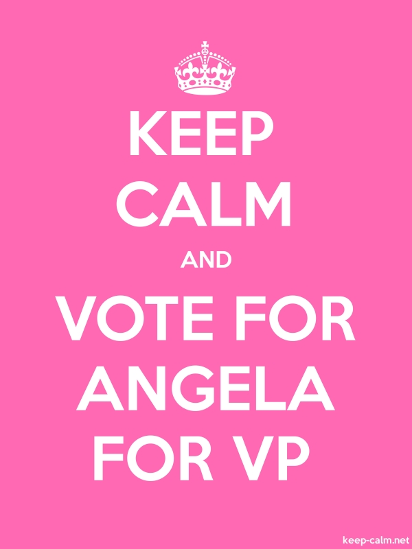 KEEP CALM AND VOTE FOR ANGELA FOR VP - white/pink - Default (600x800)