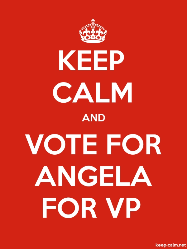 KEEP CALM AND VOTE FOR ANGELA FOR VP - white/red - Default (600x800)