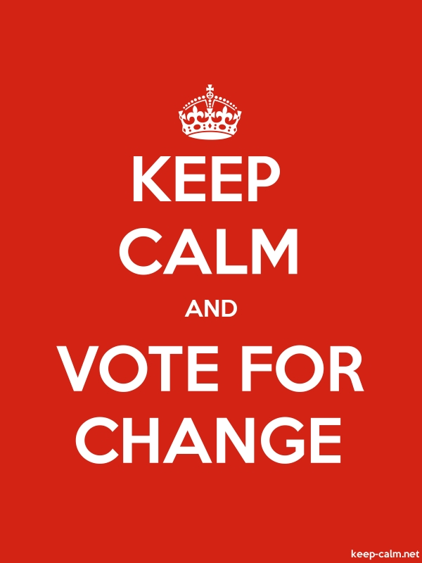 KEEP CALM AND VOTE FOR CHANGE - white/red - Default (600x800)