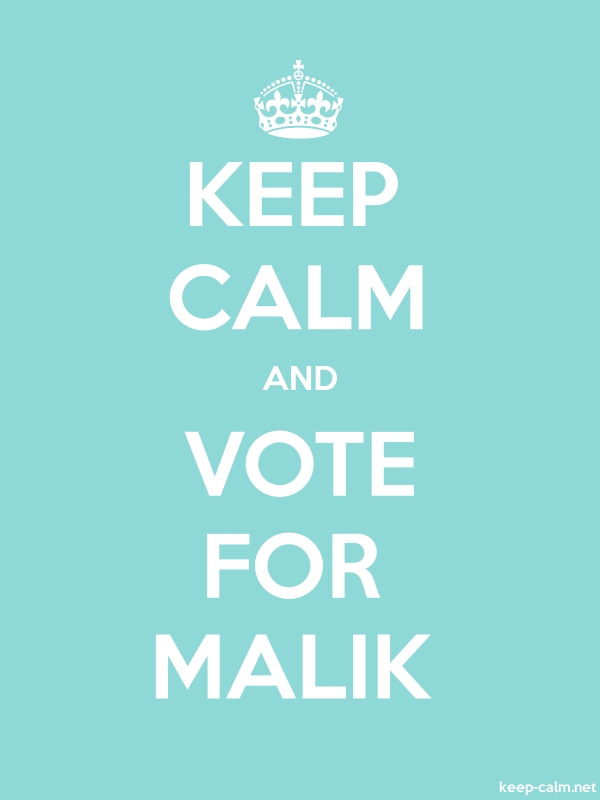 KEEP CALM AND VOTE FOR MALIK - white/lightblue - Default (600x800)