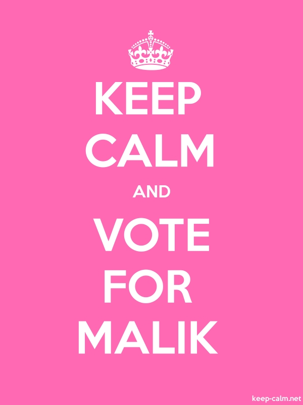 KEEP CALM AND VOTE FOR MALIK - white/pink - Default (600x800)