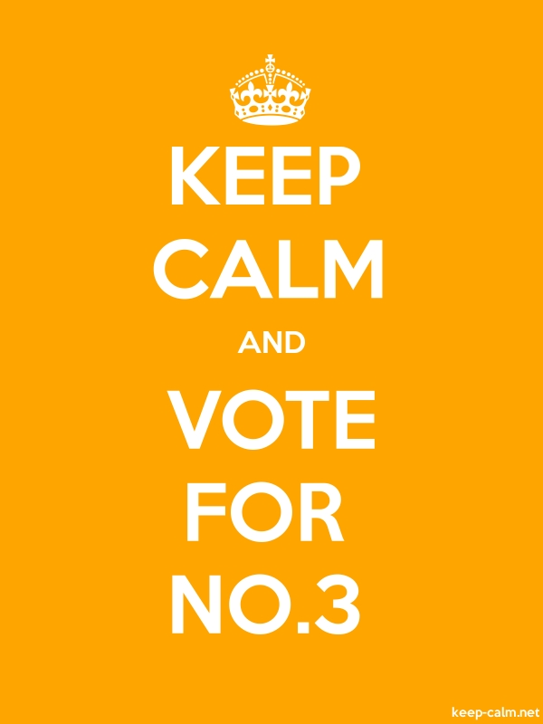 KEEP CALM AND VOTE FOR NO.3 - white/orange - Default (600x800)