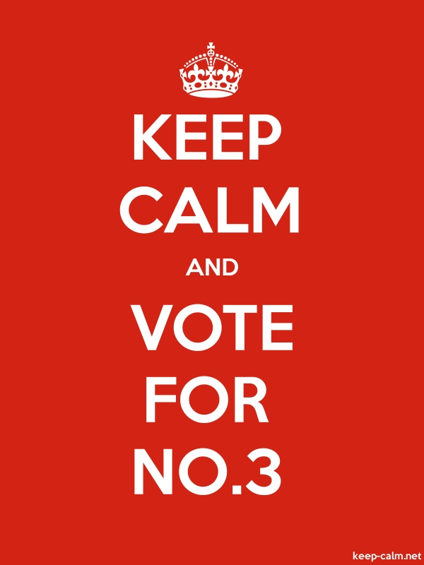 KEEP CALM AND VOTE FOR NO.3 - white/red - Default (600x800)