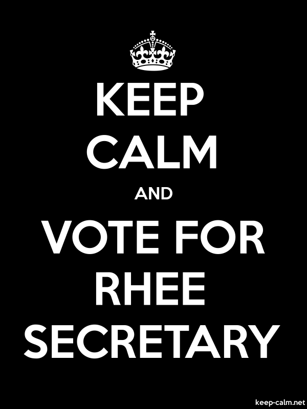 KEEP CALM AND VOTE FOR RHEE SECRETARY - white/black - Default (600x800)