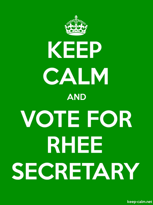 KEEP CALM AND VOTE FOR RHEE SECRETARY - white/green - Default (600x800)
