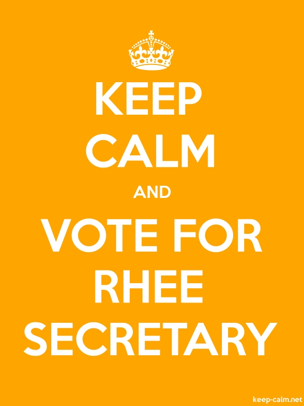 KEEP CALM AND VOTE FOR RHEE SECRETARY - white/orange - Default (600x800)