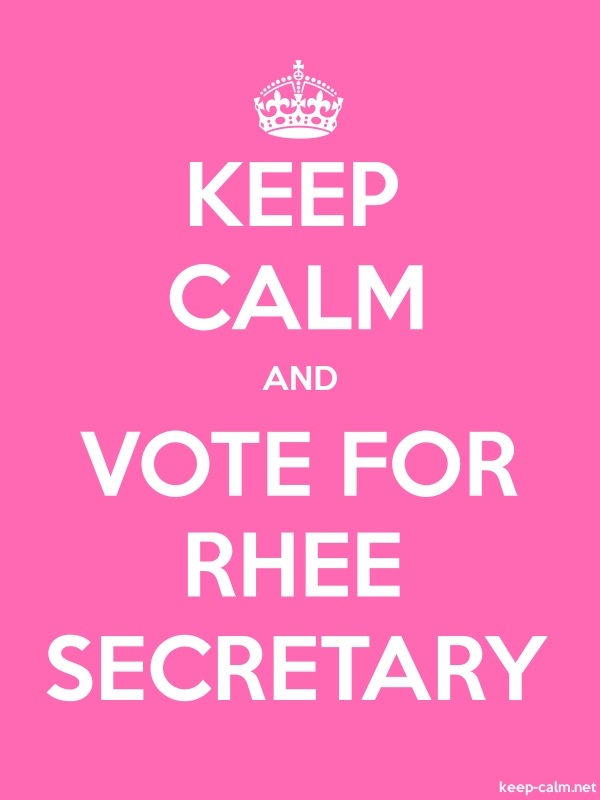 KEEP CALM AND VOTE FOR RHEE SECRETARY - white/pink - Default (600x800)