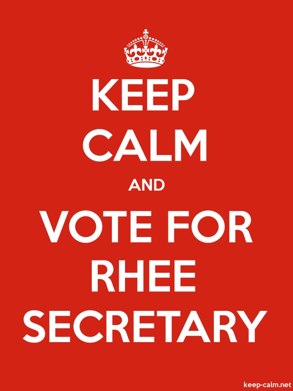 KEEP CALM AND VOTE FOR RHEE SECRETARY - white/red - Default (600x800)