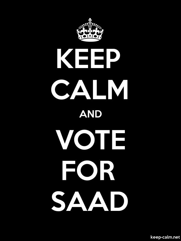 KEEP CALM AND VOTE FOR SAAD - white/black - Default (600x800)