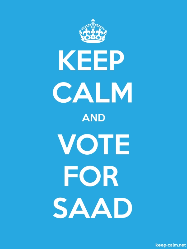 KEEP CALM AND VOTE FOR SAAD - white/blue - Default (600x800)