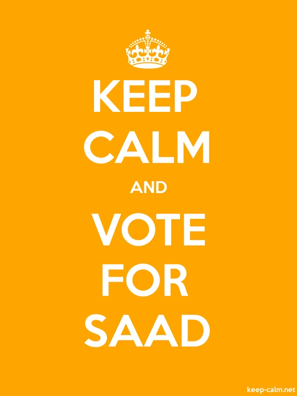KEEP CALM AND VOTE FOR SAAD - white/orange - Default (600x800)