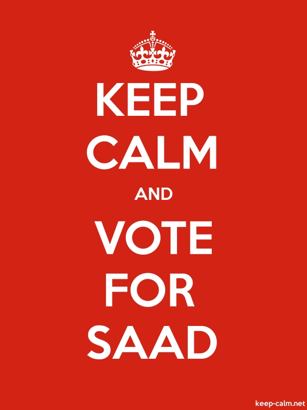 KEEP CALM AND VOTE FOR SAAD - white/red - Default (600x800)