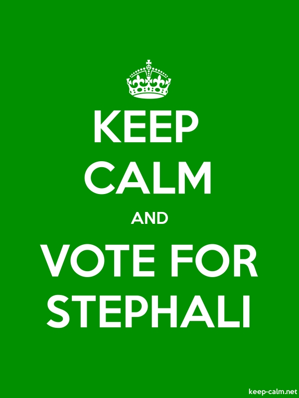 KEEP CALM AND VOTE FOR STEPHALI - white/green - Default (600x800)