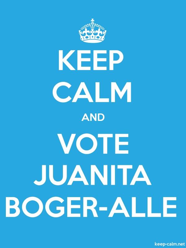 KEEP CALM AND VOTE JUANITA BOGER-ALLE - white/blue - Default (600x800)