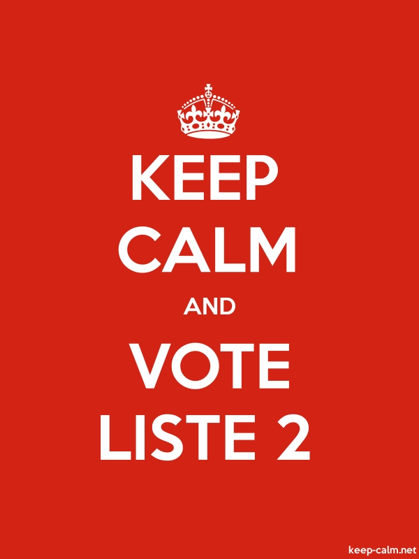 KEEP CALM AND VOTE LISTE 2 - white/red - Default (600x800)