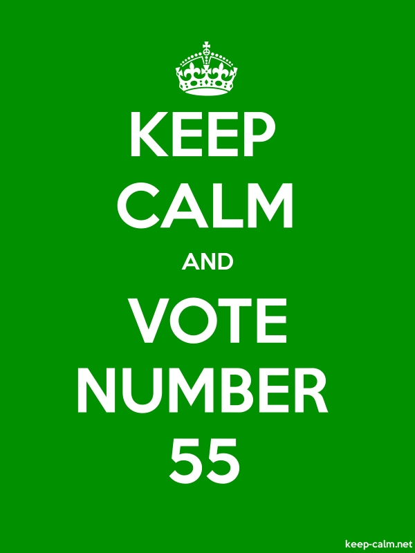 KEEP CALM AND VOTE NUMBER 55 - white/green - Default (600x800)