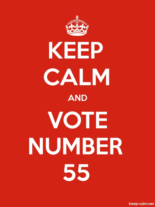 KEEP CALM AND VOTE NUMBER 55 - white/red - Default (600x800)