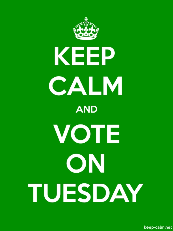 KEEP CALM AND VOTE ON TUESDAY - white/green - Default (600x800)