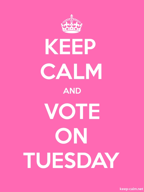 KEEP CALM AND VOTE ON TUESDAY - white/pink - Default (600x800)
