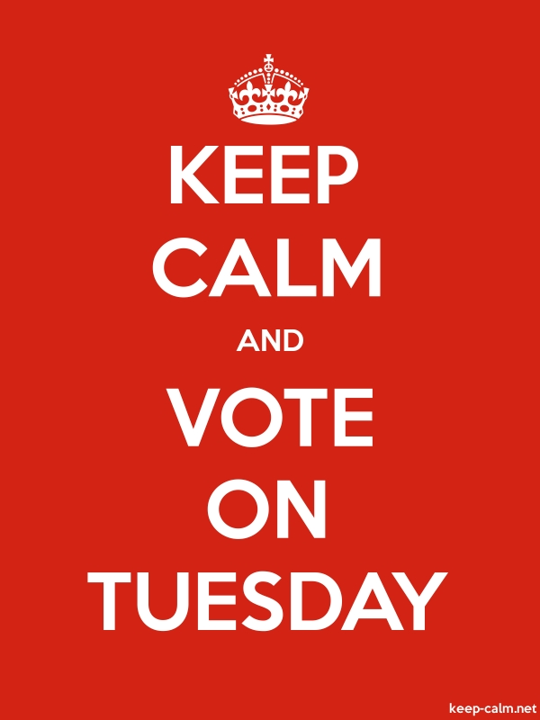 KEEP CALM AND VOTE ON TUESDAY - white/red - Default (600x800)