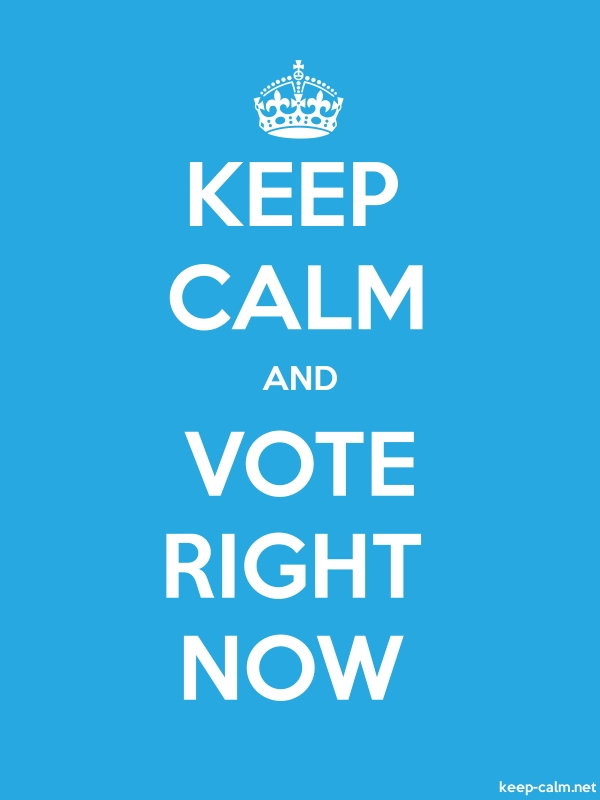KEEP CALM AND VOTE RIGHT NOW - white/blue - Default (600x800)