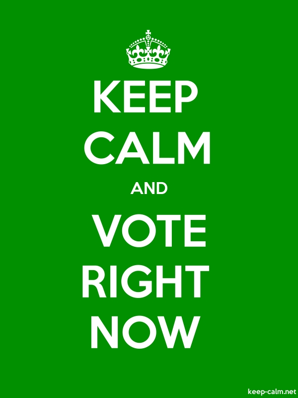 KEEP CALM AND VOTE RIGHT NOW - white/green - Default (600x800)