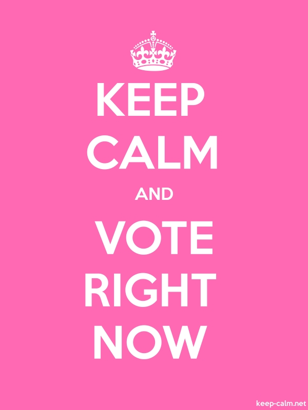 KEEP CALM AND VOTE RIGHT NOW - white/pink - Default (600x800)