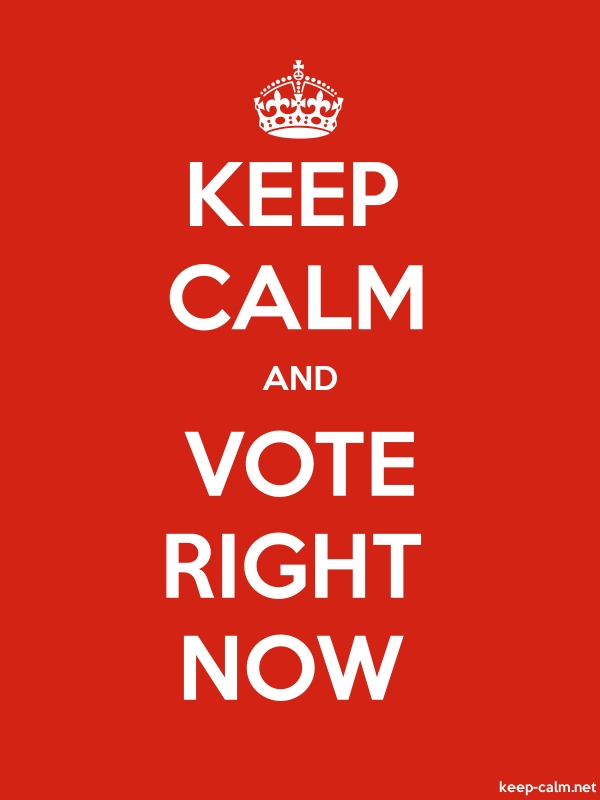 KEEP CALM AND VOTE RIGHT NOW - white/red - Default (600x800)