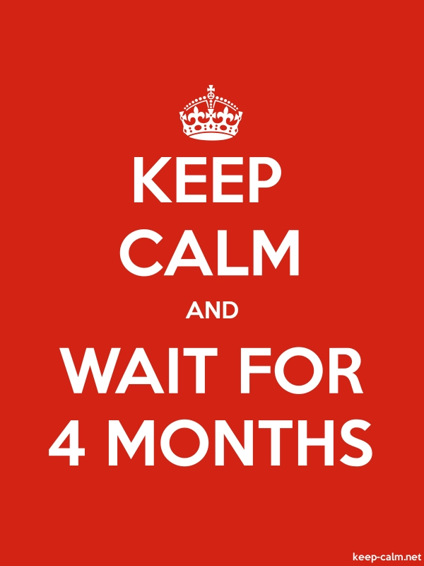 KEEP CALM AND WAIT FOR 4 MONTHS - white/red - Default (600x800)