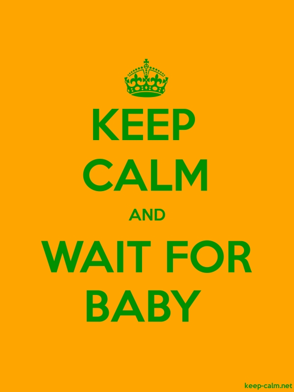 KEEP CALM AND WAIT FOR BABY - green/orange - Default (600x800)