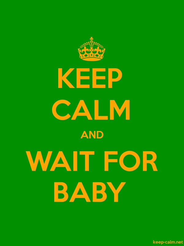 KEEP CALM AND WAIT FOR BABY - orange/green - Default (600x800)