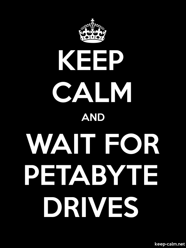 KEEP CALM AND WAIT FOR PETABYTE DRIVES - white/black - Default (600x800)