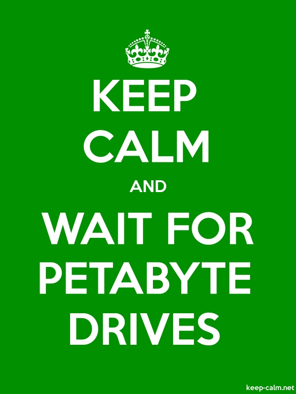 KEEP CALM AND WAIT FOR PETABYTE DRIVES - white/green - Default (600x800)