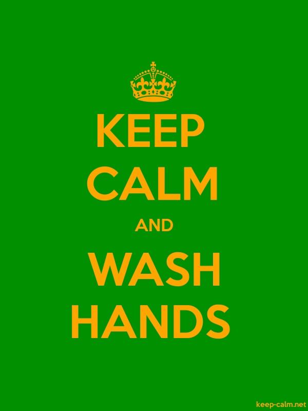 KEEP CALM AND WASH HANDS - orange/green - Default (600x800)