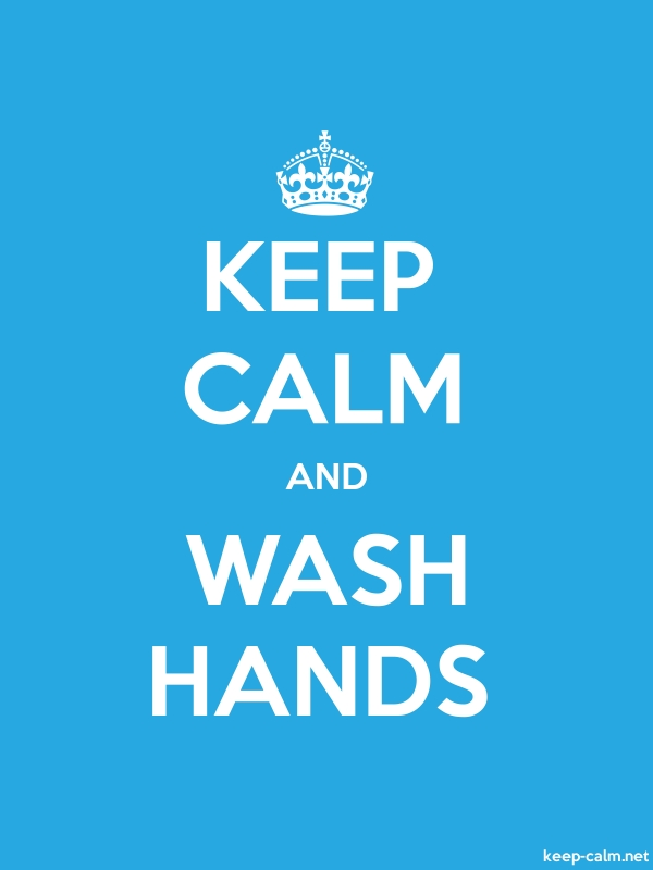 KEEP CALM AND WASH HANDS - white/blue - Default (600x800)