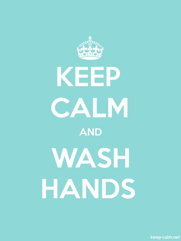 KEEP CALM AND WASH HANDS - white/lightblue - Default (600x800)