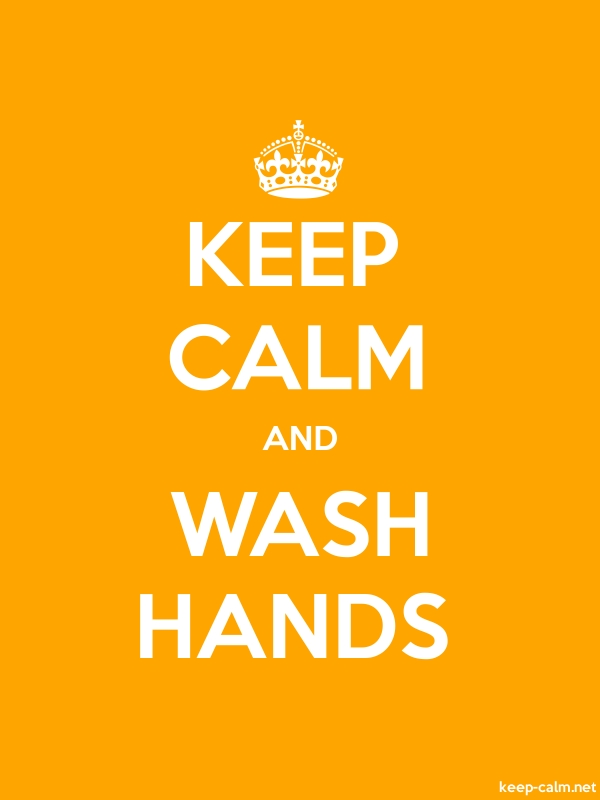 KEEP CALM AND WASH HANDS - white/orange - Default (600x800)