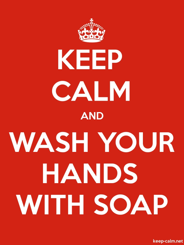 KEEP CALM AND WASH YOUR HANDS WITH SOAP - white/red - Default (600x800)