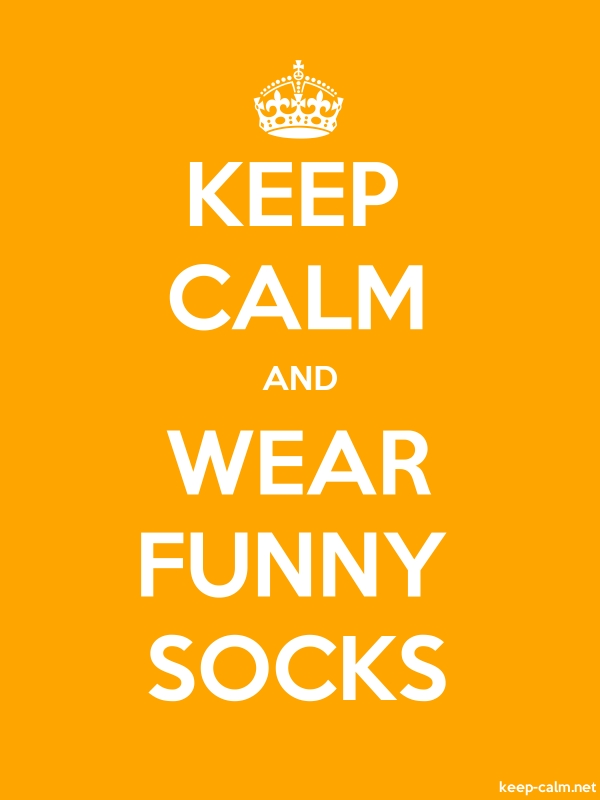 KEEP CALM AND WEAR FUNNY SOCKS - white/orange - Default (600x800)