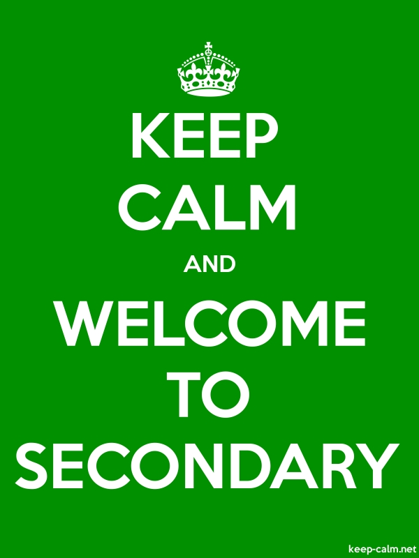 KEEP CALM AND WELCOME TO SECONDARY - white/green - Default (600x800)