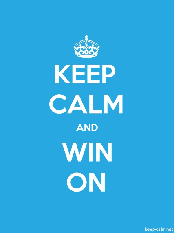 KEEP CALM AND WIN ON - white/blue - Default (600x800)