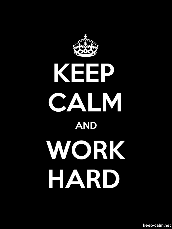 KEEP CALM AND WORK HARD - white/black - Default (600x800)